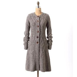 Anthro Cable-knit Long Sweater Wool Duster Buttons